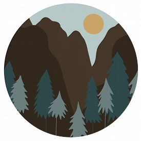 Rocky Mountains And Trees On Sunset Time. Eco Travel And Hiking Concept. Tranquil Place For Rest And