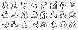 Team, Meeting, Job Structure. Business People Line Icons. Group People, Communication, Member Icons.