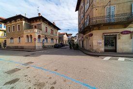 Rovereto, Italy - Feb 20, 2020: Medieval City Street Feb 20, 2020 In Rovereto, Italy. It Is A Landma