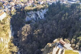 An Aerial View Of Pazin Zip Line Over Abyss Is An Extraordinary Natural Attraction In Autumn, Istria