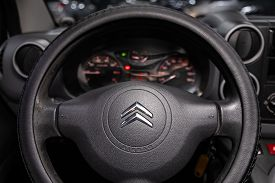 Novosibirsk, Russia - January 31, 2020:  Citroen Berlingo,  Black Luxury Car Interior - Dashboard, P
