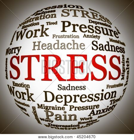 Stress related text arrangement (word cloud) with spherical form and the word STRESS in red uppercase (all other words are in black)