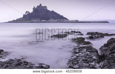 St Michael's Mount Bay Marazion pre-dawn long exposure