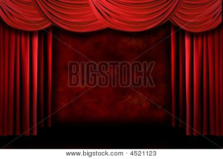 Red Grungy Stage Theater Drapes With Dramatic Lighting