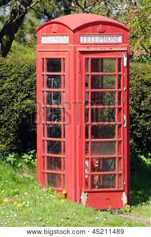Traditional red English telephone box