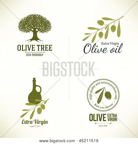 Set of olive labels