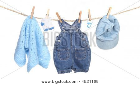 All Boy Clothing Hanging On A Clothesline