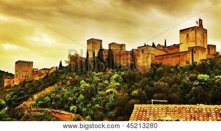 a view of La Alhambra in Granada, Spain