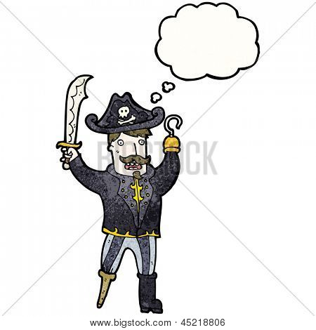 cartoon pirate captain with hook hand