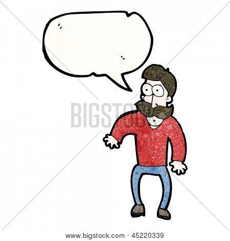 staring mustache man cartoon