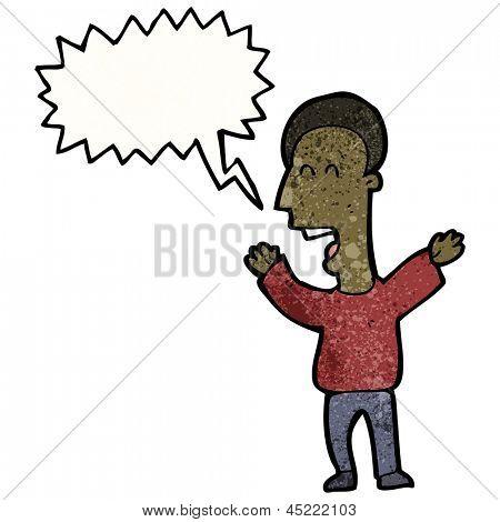 enthusiastic man with speech bubble cartoon