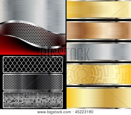 Illustration of abstract background with a metallic element. Vector.