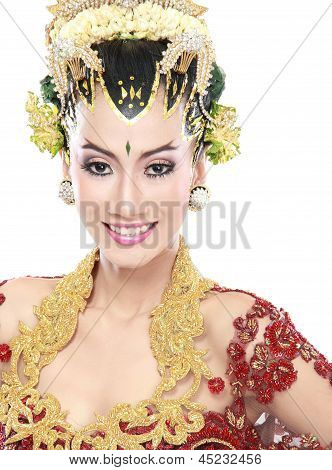 Mulher vestido de noiva tradicional de Java