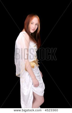 one young beautiful Goddess half length portrait over black poster