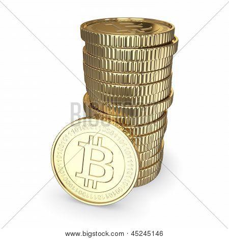 Golden bitcoin stack