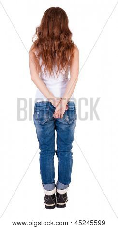 back view standing young redhead woman. girl  watching. Rear view people collection.  backside view of person.  Isolated over white background. The girl with red hair and a mountain boots looks ahead