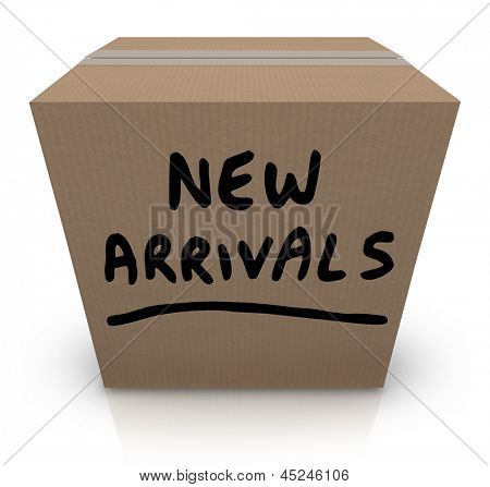 The words New Arrivals written on a cardboard box full of the latest and newest products and merchandise delivered to the store, the seller, or to you, the buyer poster