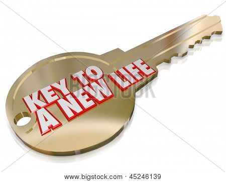 A gold key with the words A New Life to symbolize change, evolution, restart, refresh and an improved beginning poster