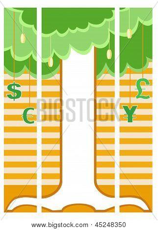 Money tree on triple banner