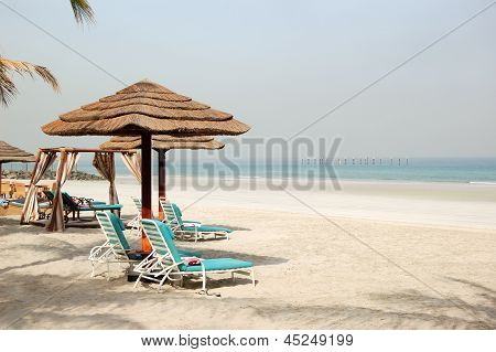 Beach of the luxury hotel Ajman UAE poster