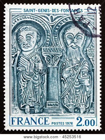 Postage Stamp France 1976 Lintel, St. Genis Des Fontaines Church