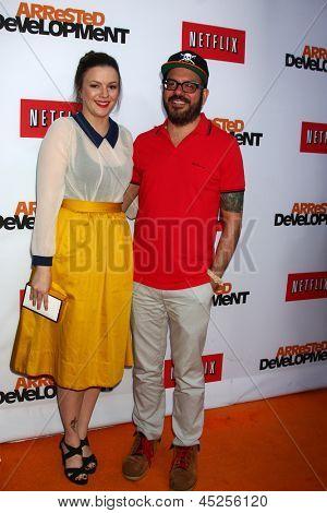 LOS ANGELES - APR 29:  Amber Tamblyn, David Cross arrives at the