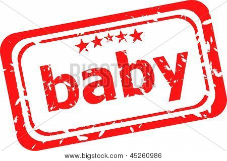 Word Baby On Red Rubber Stamp, art illustration