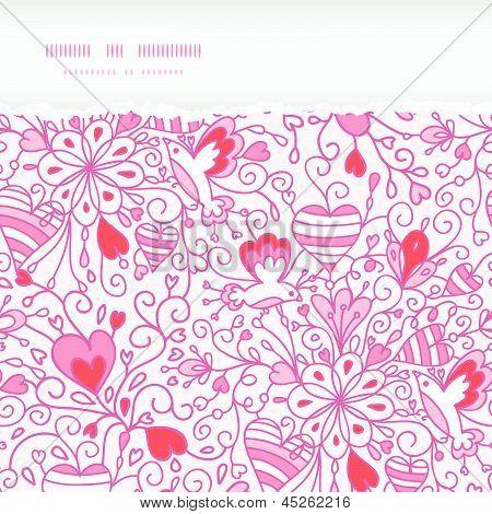 Love garden horizontal torn paper pattern background
