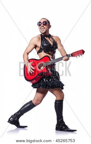 Man in woman clothing with guitar