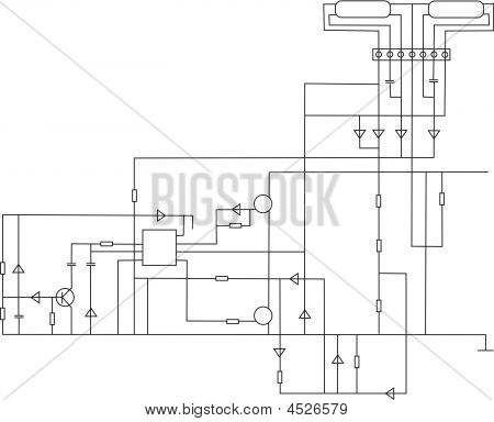 scheme electronic on a white paper vector poster