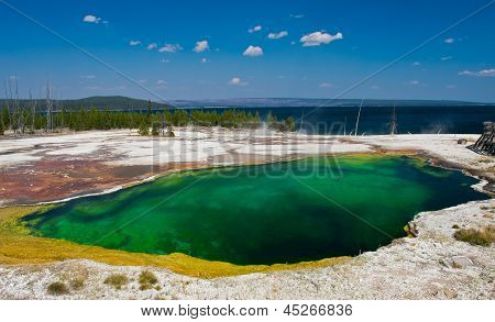 The Abyss Pool near Yellowstone Lake in Yellowstone National Park