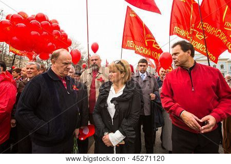MOSCOW - MAY 1: Gennady Zyuganov (left) (is a Russian politician, First Secretary of the Communist Party of the Russian Federation) during procession of May Day on May 1, 2013 in Moscow, Russia.