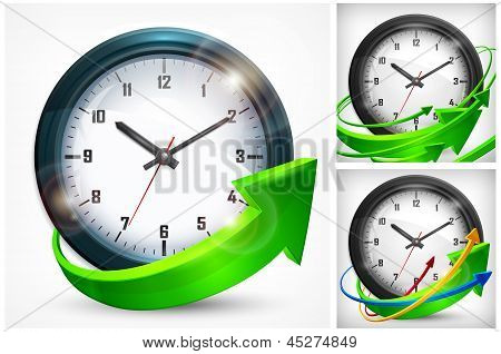 Clock With Arrows On White