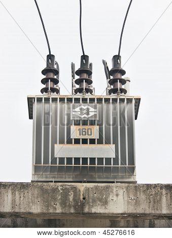 transformer on high power station.