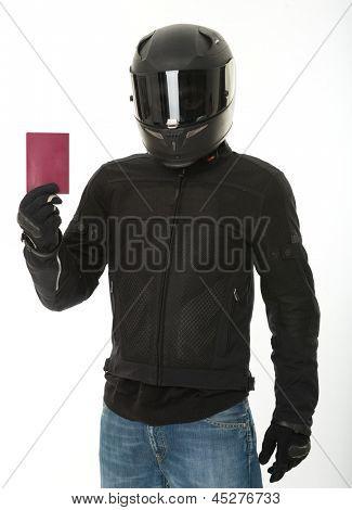 Bicker in black wearing his crash helmet