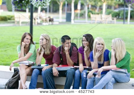 Students On A Bench - Horizontal