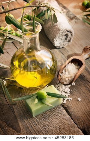 Natural Spa Setting With Olive Products