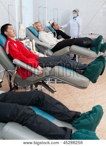 Donors At Hemotransfusion Station