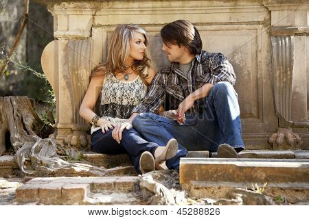 young couple having serious conversation