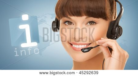 female helpline operator with headphones and virtual information button