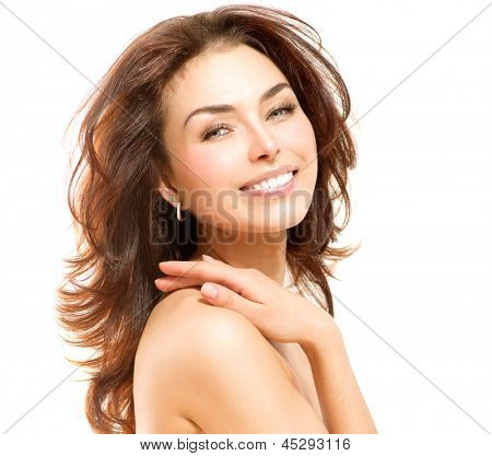 Beauty Woman. Beautiful Young Female touching Her Skin. Portrait isolated on White Background. Healthcare. Perfect Skin. Beauty Face.