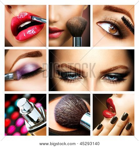 Make-up Collage. Professional Makeup Details. Makeover