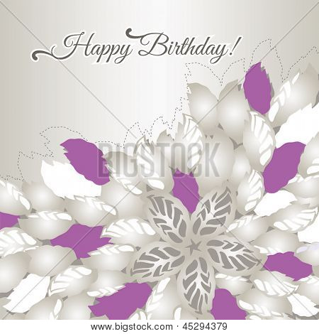Happy Birthday card with pink flowers and silver leaves. This image is a vector illustration.