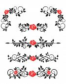 Roses with floral embellishments and borders for design poster