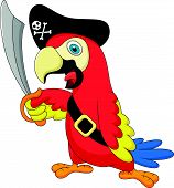 Vector illustration of Cute parrot pirate cartoon poster