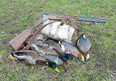 trophy hunter. wild ducks woodcock and hunting rifle. horizontal photo. poster