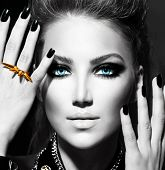 Vogue Style Fashion Model Portrait. Black and White Stylish Girl Portrait poster