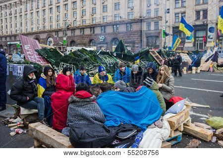 Students Are Heated By The Fire On The Maidan In Kiev
