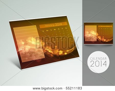 New Year 2014 calendar or monthly planner on grey background.  poster