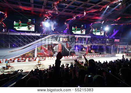 MOSCOW - MAR 02: Playground with trampolines in the arena of the Sports Complex, on March 02, 2013 in Moscow, Russia.